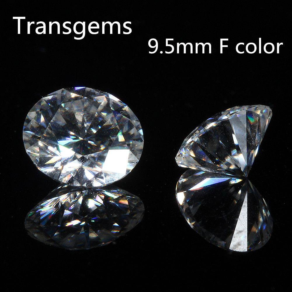 Transgems 1 Piece 9.5mm F Round Hearts and Arrows Cut Moissanites Loose Stone for Jewelry Equivalent Diamond Carat Weight 3.5ct