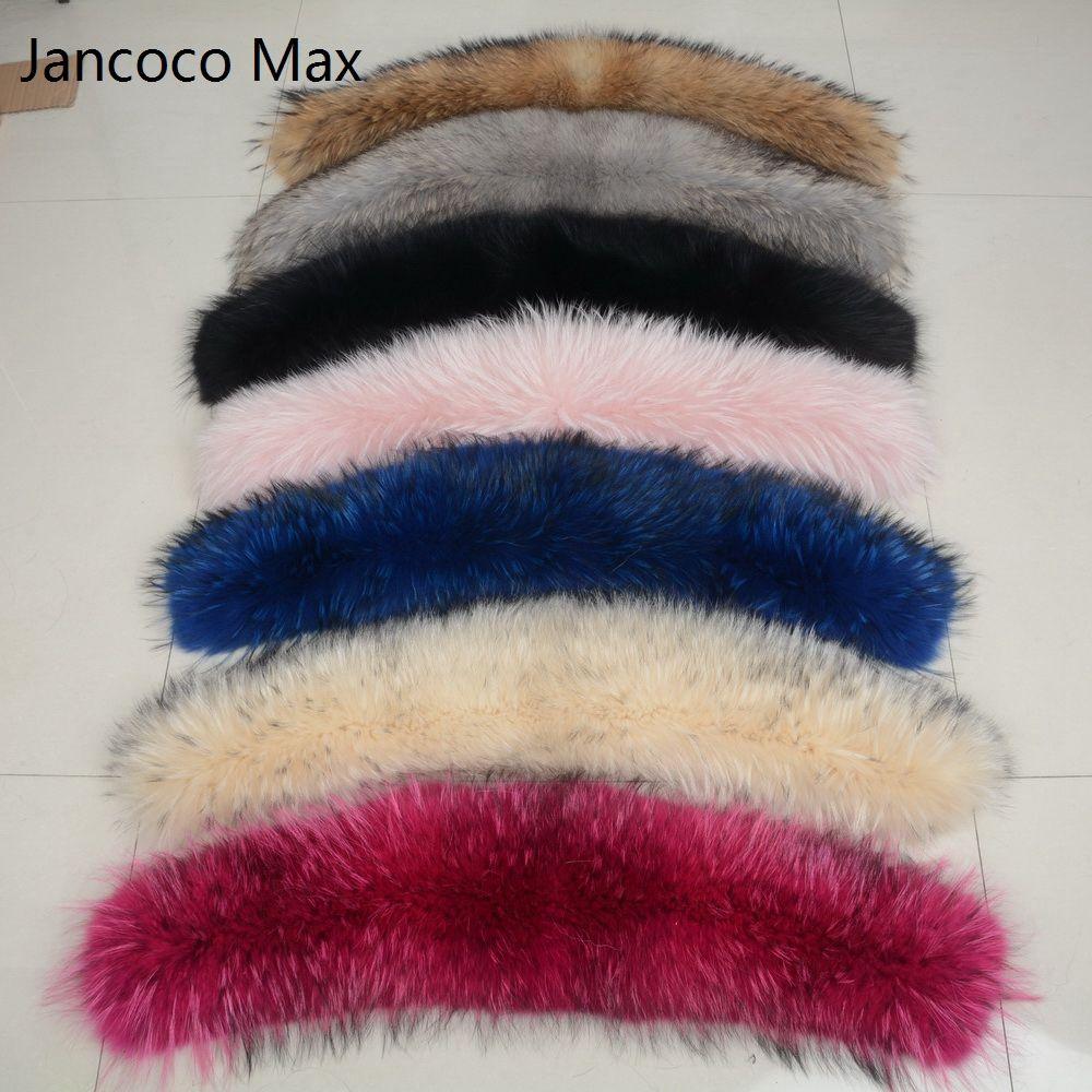 Jancoco Max * Futter 75 cm 2018 Große Echtpelz Trim Waschbär Kragen Parka Kapuze Frauen Männer Mode Natürliche Schal haken S1692