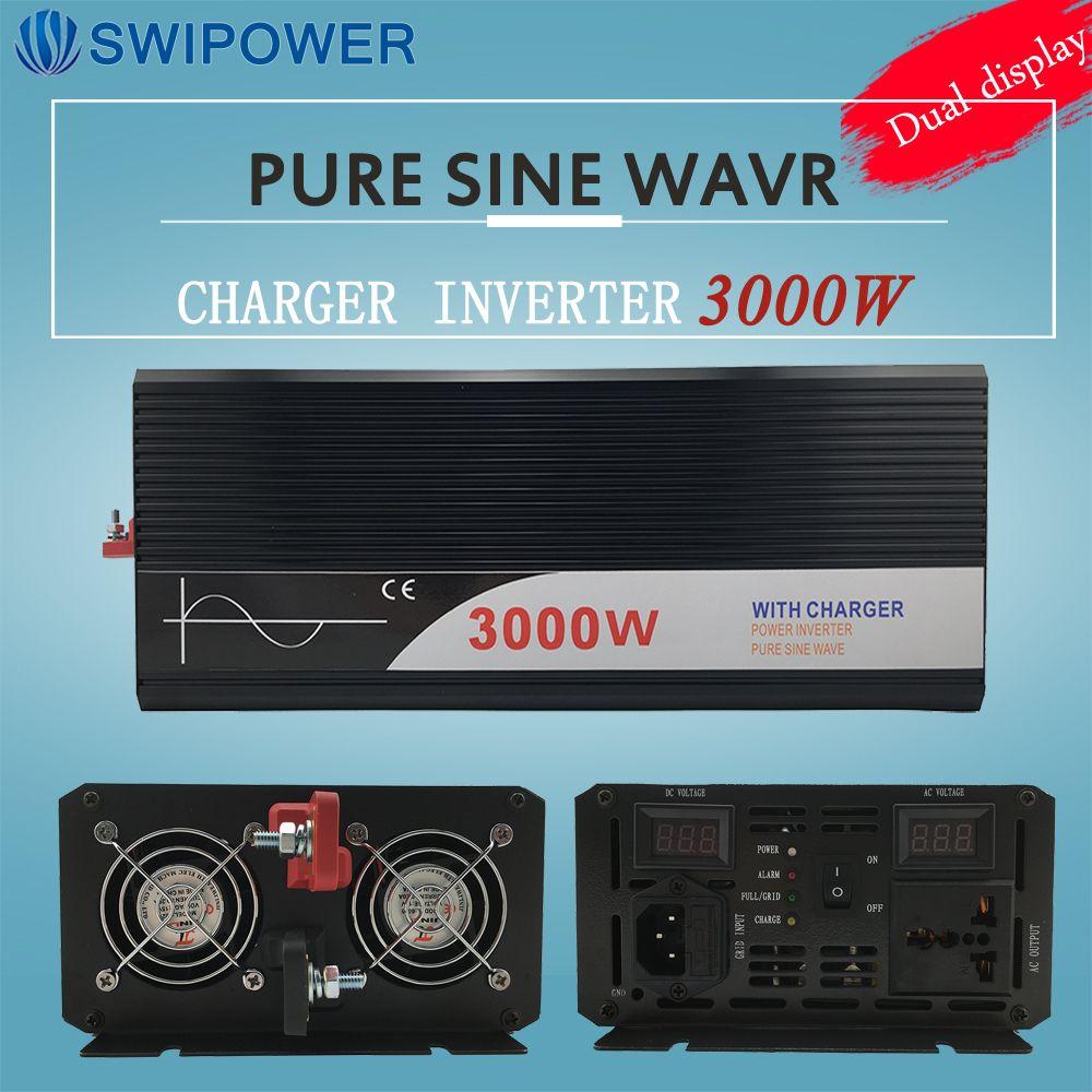 Ups inverter 3000 Watt reine sinus-wechselrichter mit ladegerät 12 V 24 V 48 v DC zu AC 220 V 230 V 240 v solar power wechselrichter
