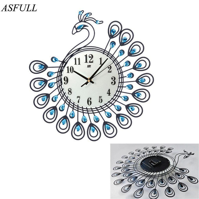 ASFULL Diamant Paon Grand Mur Horloges En Métal salon Creative Mode Silencieux Montre Mur Décor À La Maison horloge mur shippi gratuit