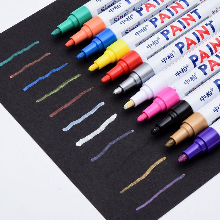 Marcadores de pintura metálica a prueba de agua con fluorescencia colores rotuladores marcadores de cerámica para tejido de vidrio pintura negro de los neumáticos