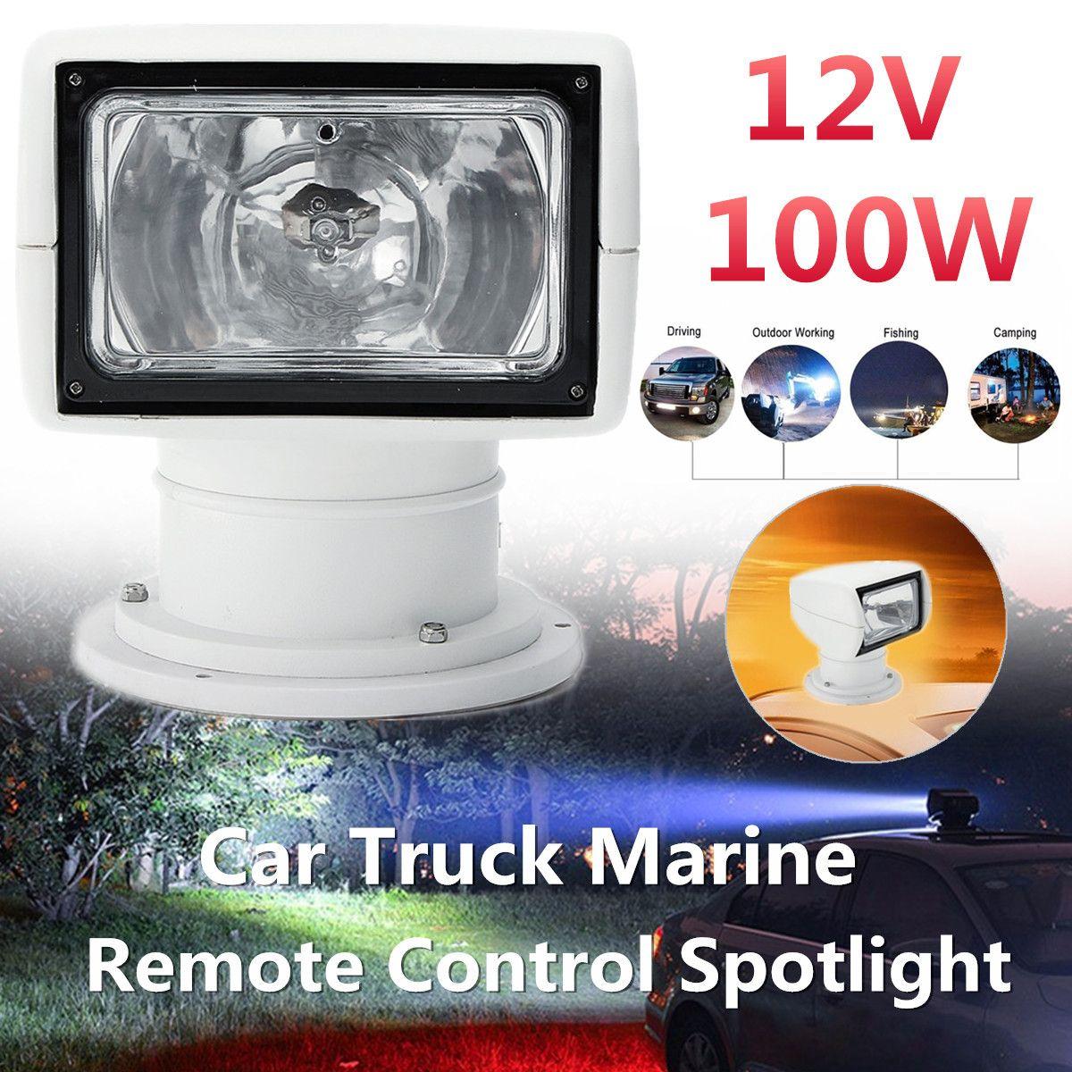 Boat Truck Car Spotlight 12V 100W 2500LM 3200K Marine Searchlight Light Bulb Remote Control PC+Aluminum Multi-angled White
