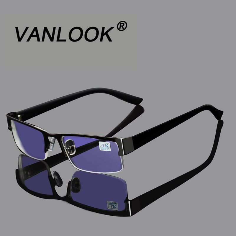 Stainless Myopia Glasses For The Computer Men Eyeglasses Clear Lens Spectacles Anti Blue Ray Eyeglass Frame -1.00 -1.50 to -4.00