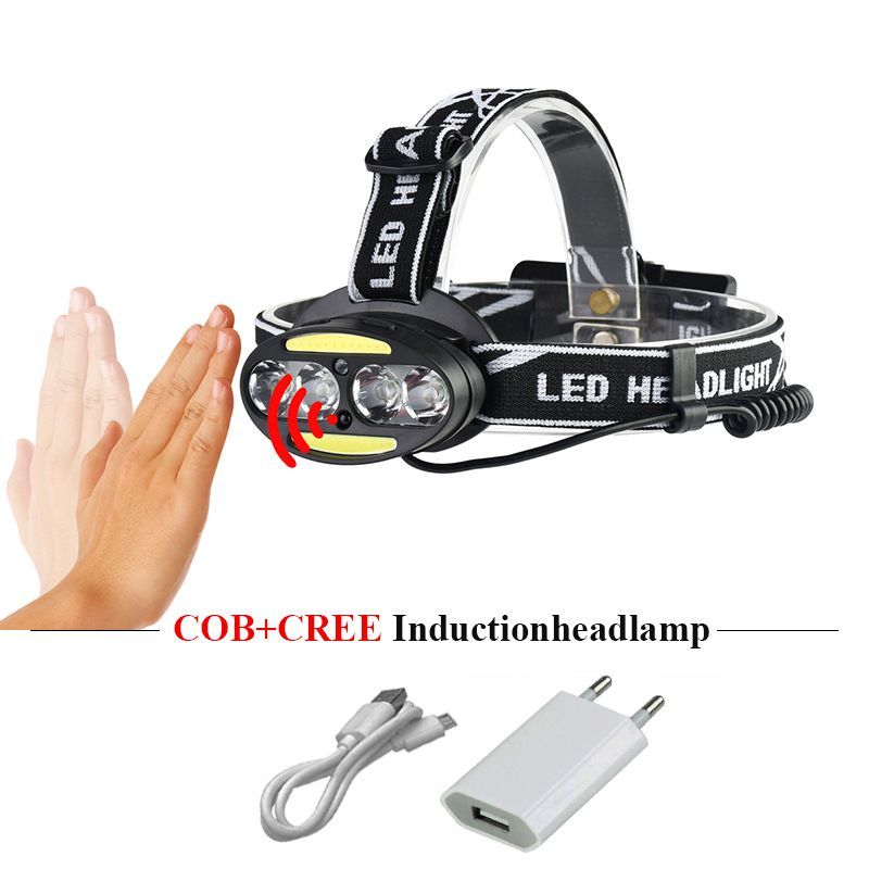 usb headlamp cob induction headlight 18650 head lamp rechargeable cree xml t6 led torch flashlight headtorch linterna frontal