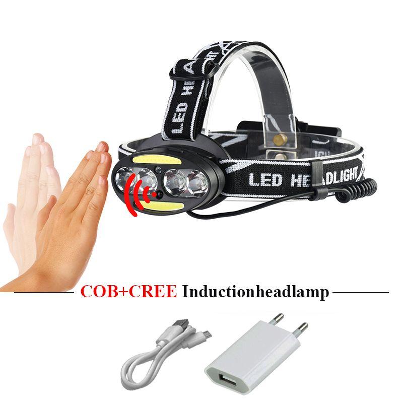 usb headlamp cob induction headlight 18650 head lamp rechargeable cree xml t6 led torch flashlight headtorch linterna frontal