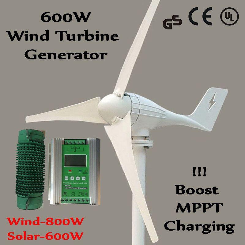 Wind Generator 600W Wind Power Turbine MAX 830w + 1400W 12V/24V Boost MPPT Hybrid charge controller for Wind 800W + solar 600W