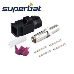Superbat Mobil HSD Kabel Fakra A Hitam/9001 Crimp Perempuan Jack Lurus RF Konektor Coaxial untuk Dacar 535 4 tiang Kabel