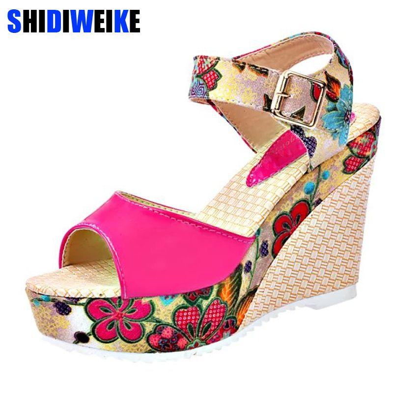 2019 femmes sandales d'été plate-forme compensées chaussures femme décontractées Floral Super hauts talons bout ouvert pantoufles Sandalias Zapatos Mujer