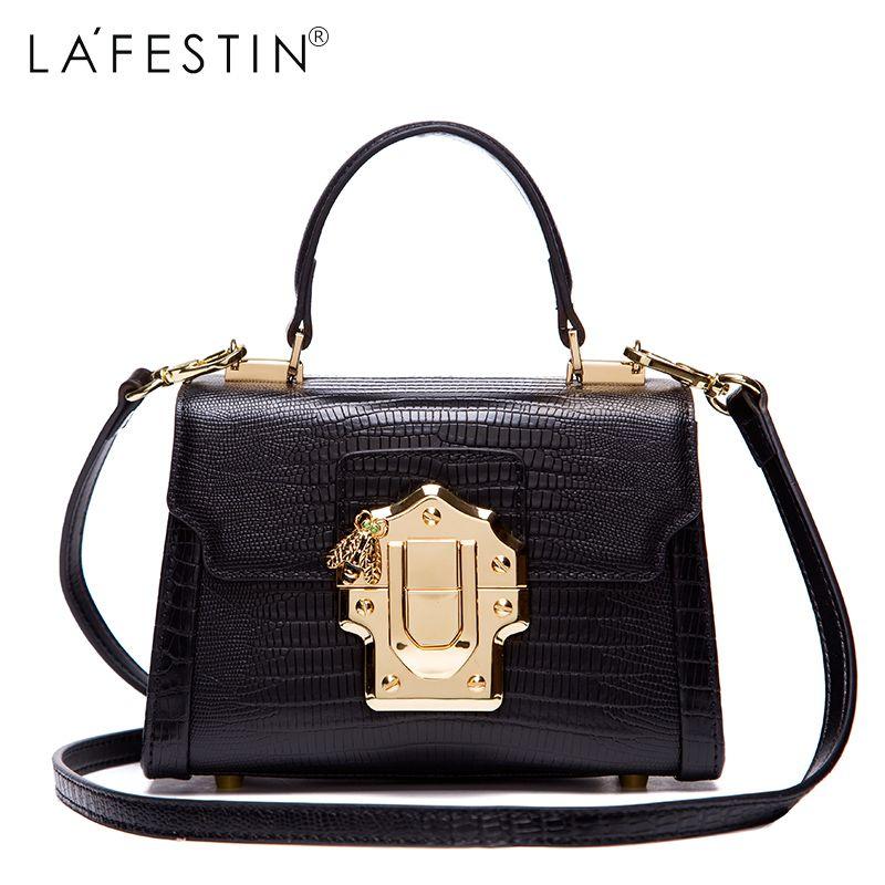 LAFESTIN Designer Serpentine Lock Handbag Real Leather Bag 2018 Fashion Women Bags Shoulder Luxury brands Bag bolsa