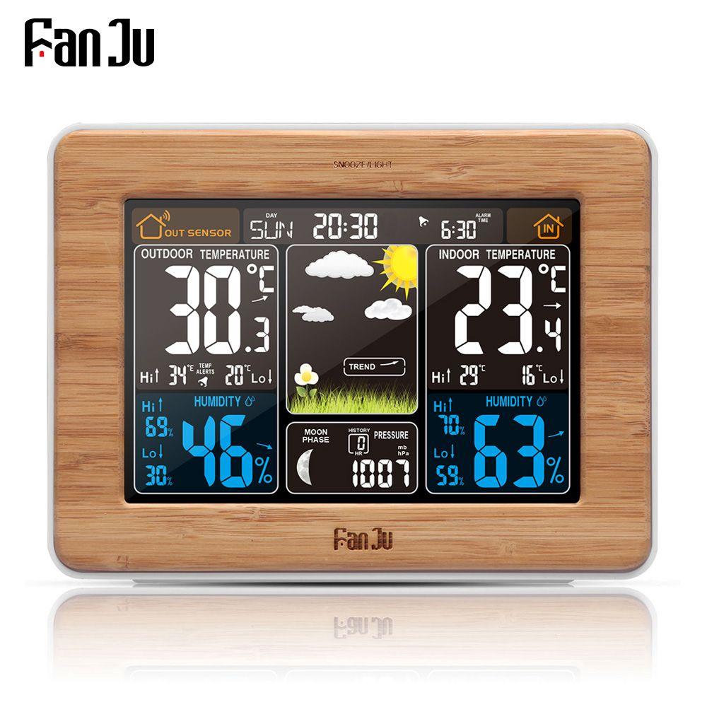 FanJu fj3365 Weather Station Color Digital Clock Temperature Humidity Sensor Thermometer Forecast Desk <font><b>Table</b></font> LCD Alarm Clock