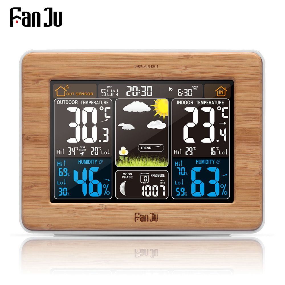 FanJu fj3365 Weather Station Multi-function Digital Clock Temperature Humidity thermometer forecast Desk Table LCD Alarm Clock