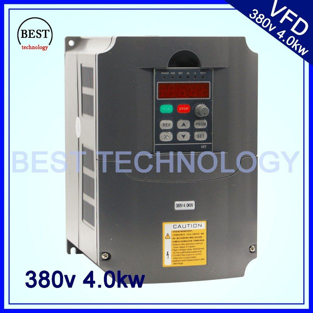 380v 4kw VFD Variable Frequency Drive VFD Inverter 3HP Input 3HP Output Frequency inverter spindle motor speed control
