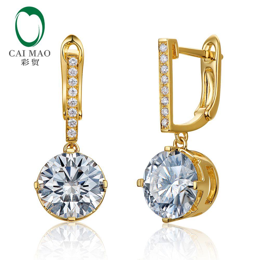 Caimao 3.36ct 8mm Round White Moissnaite 14K Yellow Gold Engagement Dangle Earrings Drop