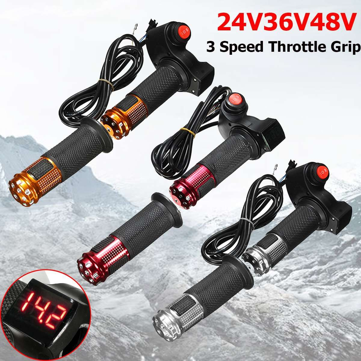 EBike Scooter Electric Throttle Grip Handlebar 24V 36V 48V 60v LED Digital Meter 3 Speed 2 PCS