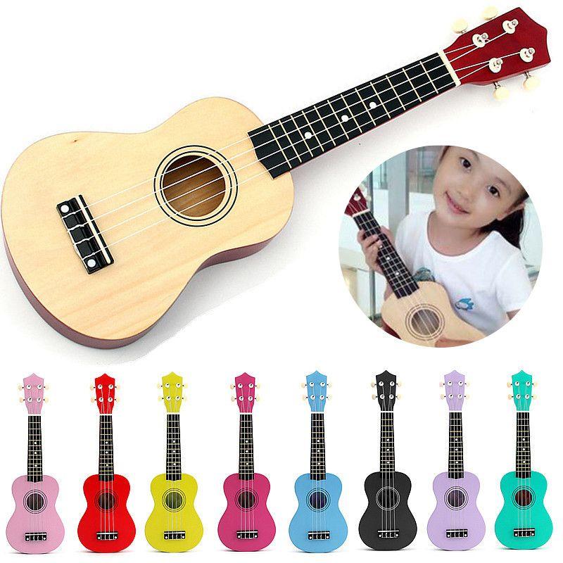 Красочные 21 дюймов акустической сопрано 4 строка мини липа Гавайские гитары укулеле музыкальный инструмент игрушки обучения Развивающие м...