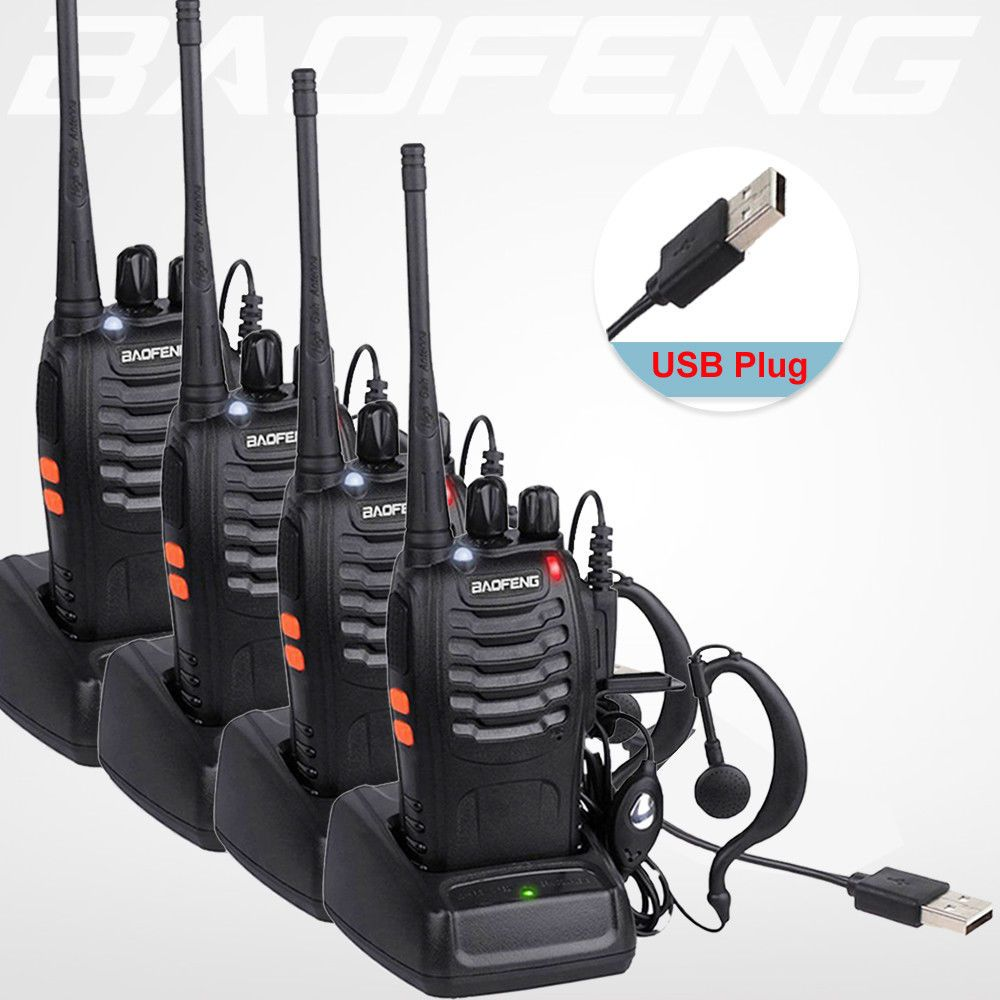 4 pcs/lot BaoFeng Talkie Walkie USB charge adaptateur BF-888S UHF 400-470 mhz 2-Way Radio 16CH Longue gamme avec baofeng écouteur