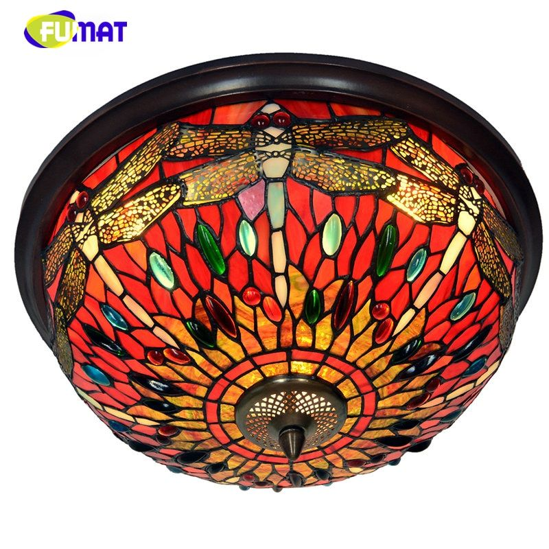 FUMAT Glass Art Ceiling Lamp Creative Glass Lightings For Living Room Stained Glass LED E27 Baroque style tiffany Ceiling Lamps