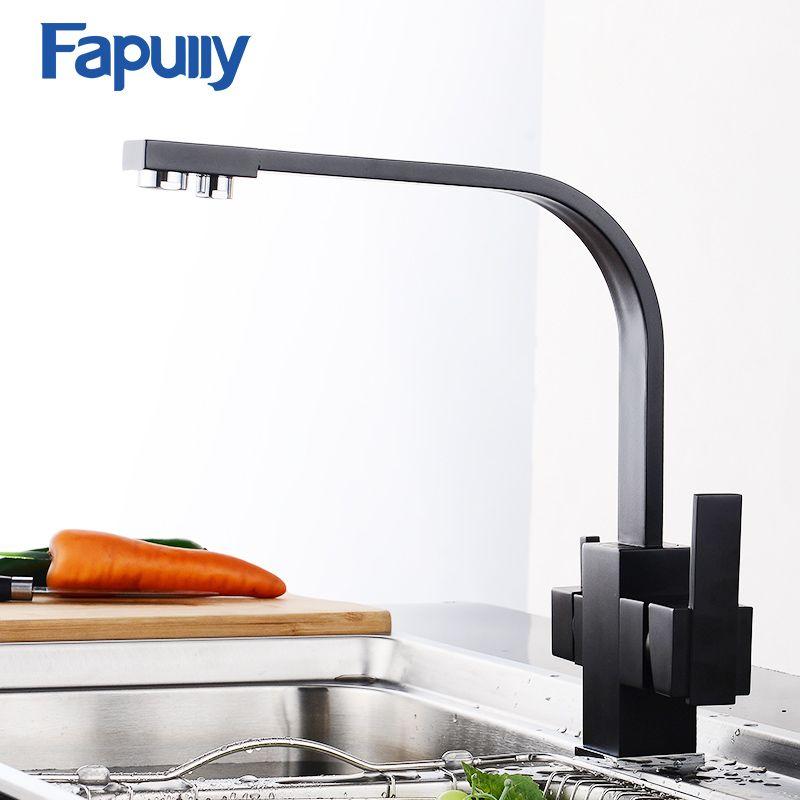 Grifo de la Cocina con Agua Filtrada Fapully Negro 3 Vías de Agua Potable Fría y Caliente de Latón Grifo de la Cocina Mezclador Grifos 573-33