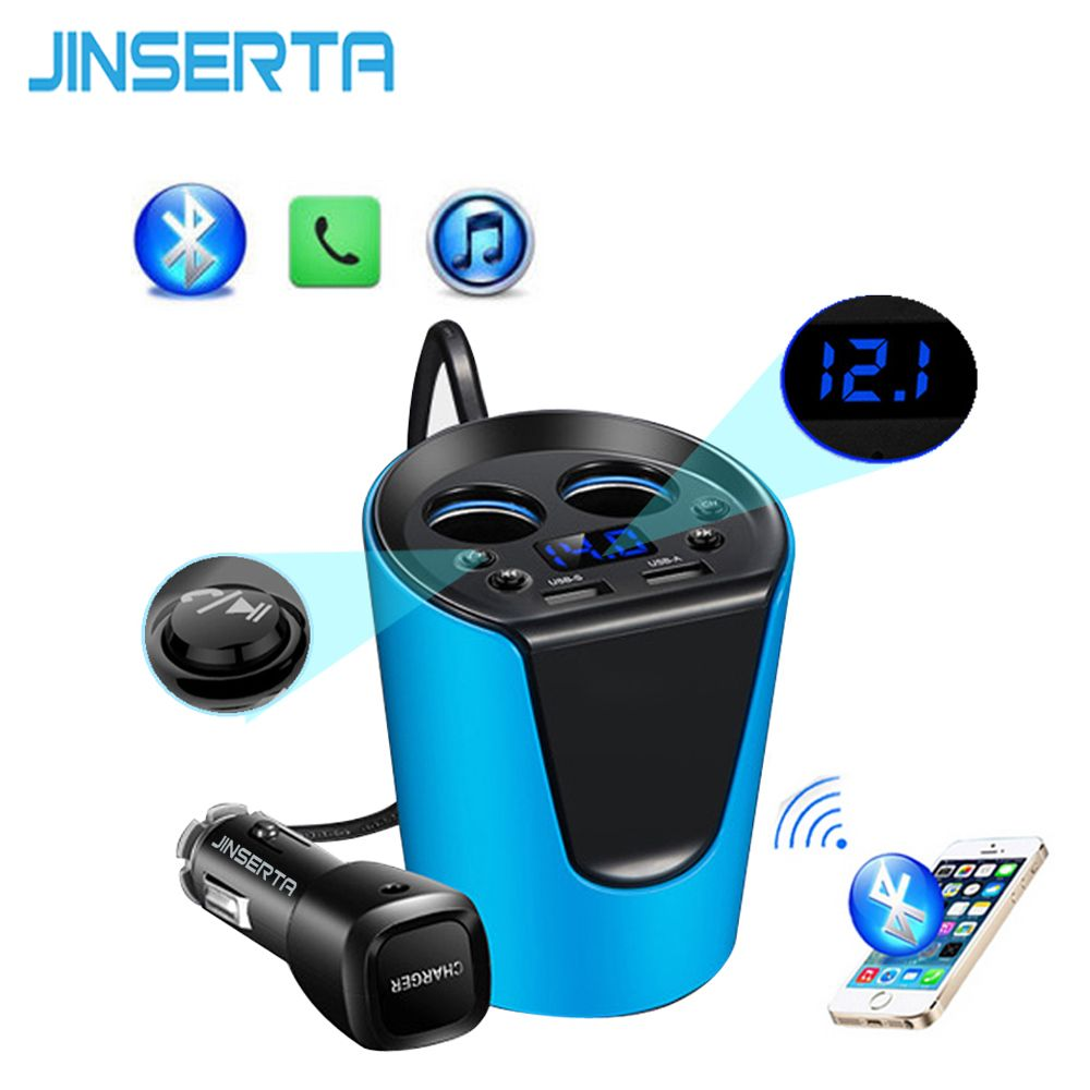 JINSERTA Music MP3 Player Bluetooth Car Kit FM Transmitter HandsFree Cigarette Lighter Adapter Splitter 2 Ports USB Charger