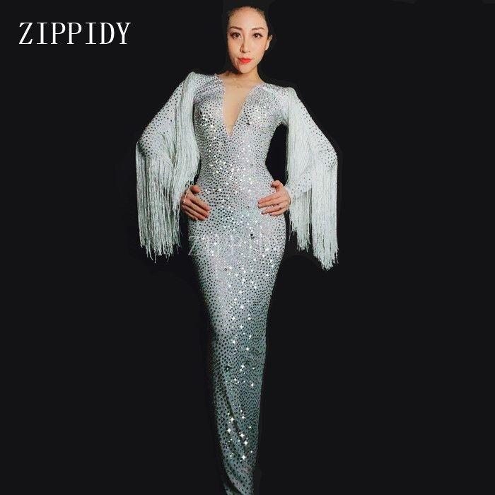 Shining White Rhinestones Fringes Long Dress Women's Birthday Celebrate Dress Evening Wear Female Singer Tassel Dress Costume