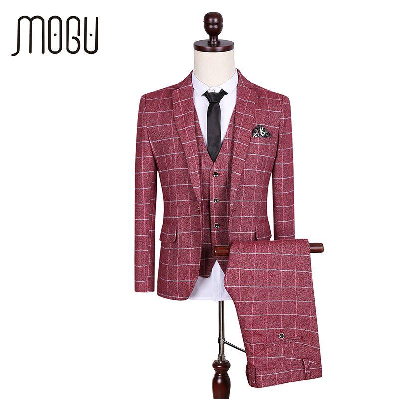 MOGU New Three Piece Plaid Men Suit 2017 Wedding Suits For Men Fashion Lattice Costume Slim Fit Suit Asian Size Men's Clothing