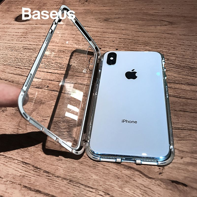 Baseus Magnetic Adsorption Flip Case For iPhone Xs Max Xs Metal Fram Tempered Glass Case For iPhone Xs 2018 Phone Coque Cover