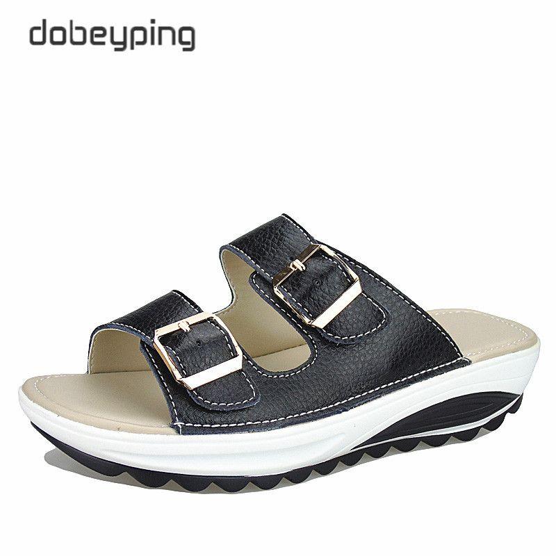 2017 décontracté femmes sandales en cuir véritable été chaussures plates femmes plate-forme Wedges femme diapositives plage tongs taille 35-42