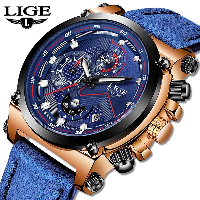 LIGE Uhr Luxus Marke Männer Analog Leder Sport Uhren männer Armee Militär Uhr Männliche Datum Quarz Uhr Relogio Masculino 2019