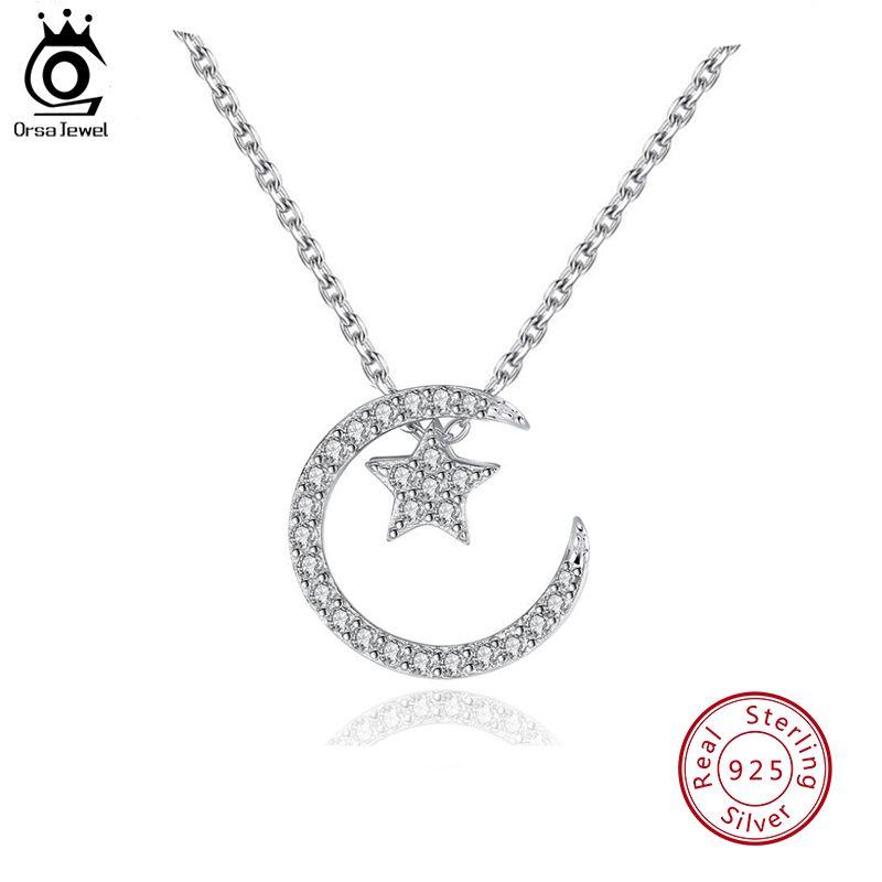 ORSA bijoux 925 argent Sterling lune étoile pendentif colliers avec cristal autrichien pour les femmes 4 façons de porter collier cadeaux SN06