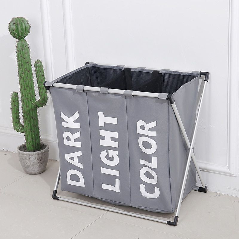 Waterproof laundry basket Separated Oxford hamper toilettas hamper 3 grids Environmentally Foldable Oxford Storage laundry bag