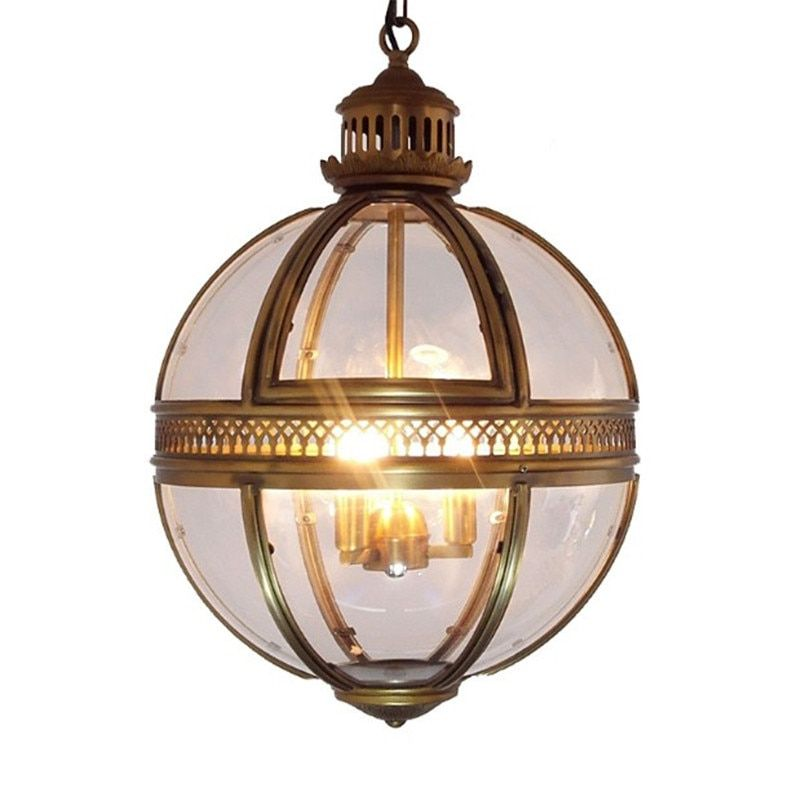 Vintage Loft Restaurant Globe Pendant Lights Fixture Retro Home Decor Living Room Wrought Iron Glass Ball Pendant Lamp E27 Bulb