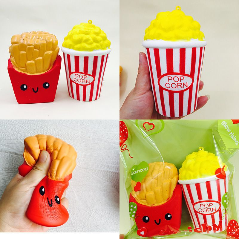 squishies 2pcs squishy jumbo set kawaii fries popcorn slow rising with package charm squeeze toy straps kids gift Free Ship