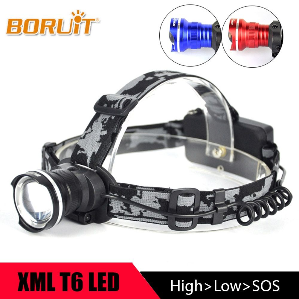 BORUIT Zoomable 3 Modes Headlight XM-L T6 LED <font><b>Headlamp</b></font> Portable led Flashlight 18650 Head Torch with Rechargeable Battery