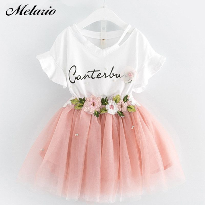 Girls Dress 2018 Brand Kids Clothes Butterfly Sleeve Letter T-shirt+Floral Voile Dress <font><b>2Pcs</b></font> for Clothing Sets Children Dress