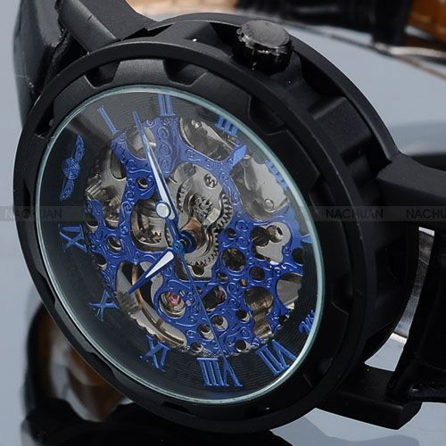 Winner Blue Dial New Series Transparent Skeleton Watch Black Leather Strap Luxury Design Leather Men Casual Watch Orologio Uomo