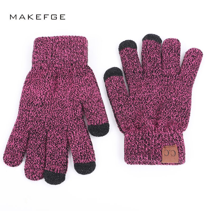 2018 Brand High Quality Knit Gloves Man Woman Warm Mittens Plus Velvet Thicken Gloves for touch screens Wool Cashmere Unisex