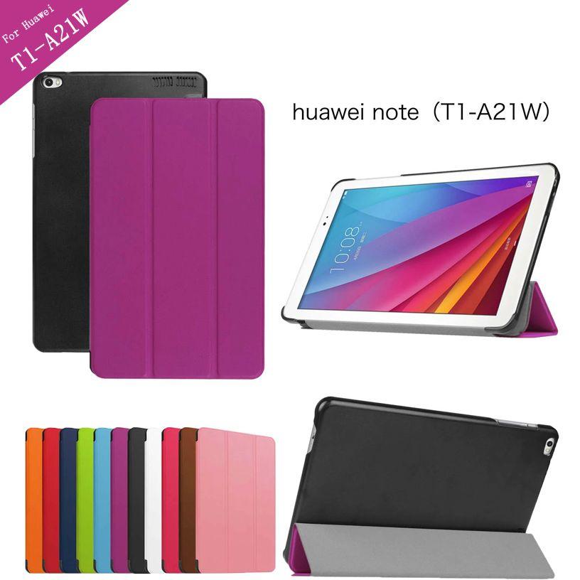 Tri-rabattable En Cuir PU étui pour huawei T1 10 T1-A21W Tablette étui pour huawei MediaPad T1 T1-A21L T1-A23L Honor Note couverture