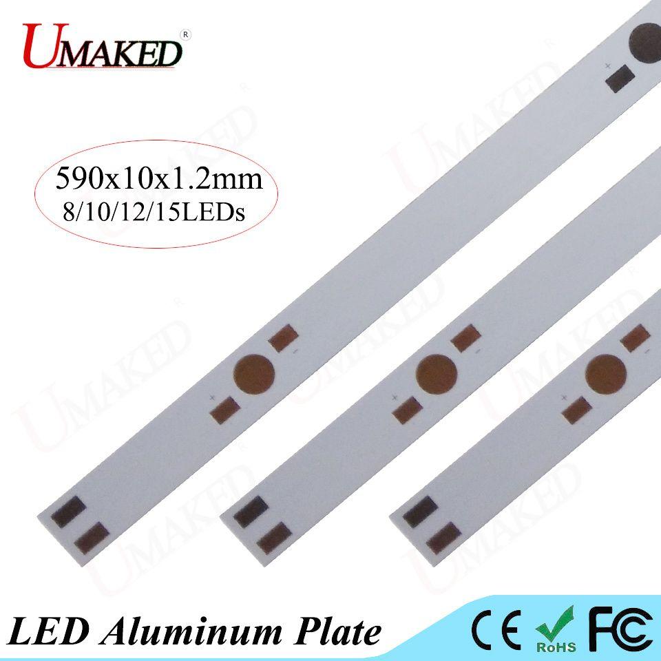 590mm plaque de la lampe 8/10/12/15 leds LED plaque d'aluminium Pour 1 W 3 W 5 W haute Puissance led installer LED PCB Conseil Aquarium tube Grow lumière