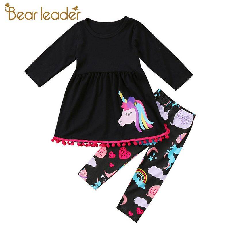 Bear Leader Baby Girls Clothing Sets 2018 New Brand Unicorn Pattern Clothes +Printed Trousers Two piece Set For 2-6 Year