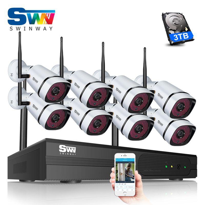 SW Nouveau Plug And Play 8CH 1080 P Sans Fil NVR CCTV Kit P2P HD Extérieur + Intérieur Intempéries Nuit-Vision WIFI Système de Caméra de Sécurité