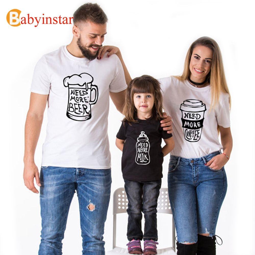 Looks assortis maman papa et moi vêtements famille tenue assortie bébé coton t-shirt ensembles famille Look famille équipée famille costume