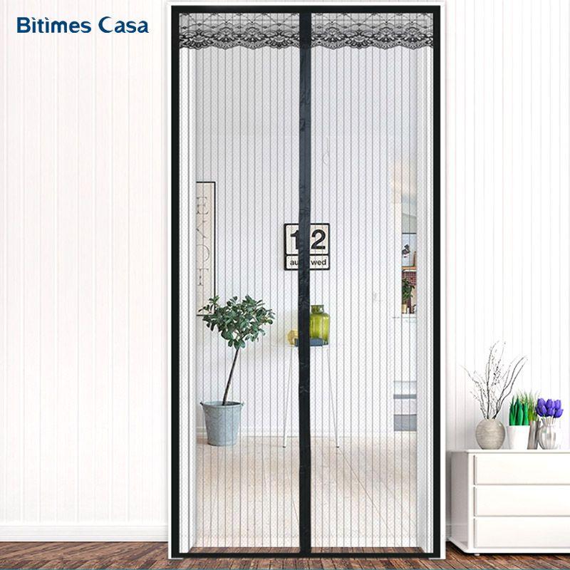 Einfarbig Streifen Dicke Tür Vorhang Bildschirm Hohe Denstiy Kleine Netz Mit Dekoration Spitze Starken Magnetverschluss Anti-mücken