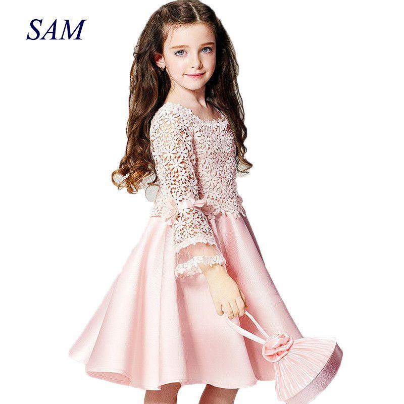 2019 été nouvelle haute qualité mode fleur fille princesse robe dentelle à manches longues col rond enfants vêtements livraison gratuite