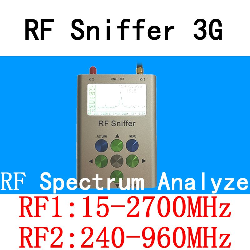 RF Sniffer 3G Handheld Digital Spectrum Analyze(15-2700MHz&240-960MHz) VHF/UHF/WiFi/2.4G/Bluetooth/LTE/GSM/GPRS/HAM Tools