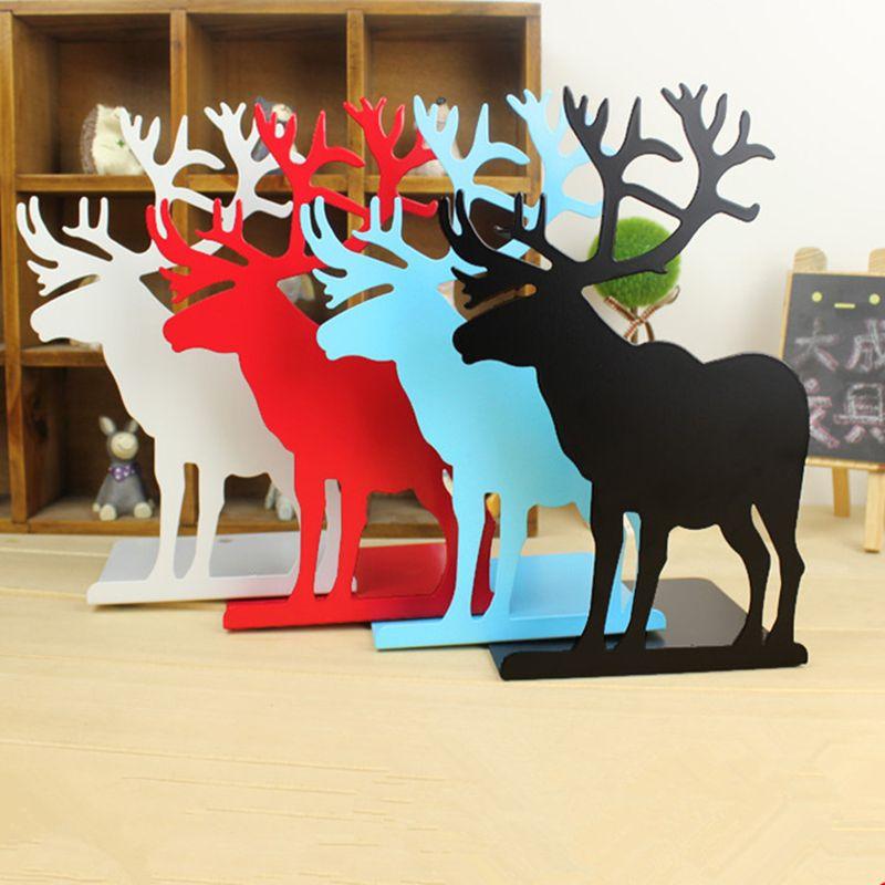 2 unids/set holder libro para leer alces sujetalibros sujetalibros de metal que restaura maneras antiguas de Escritorio recibir organizar para los regalos de Navidad