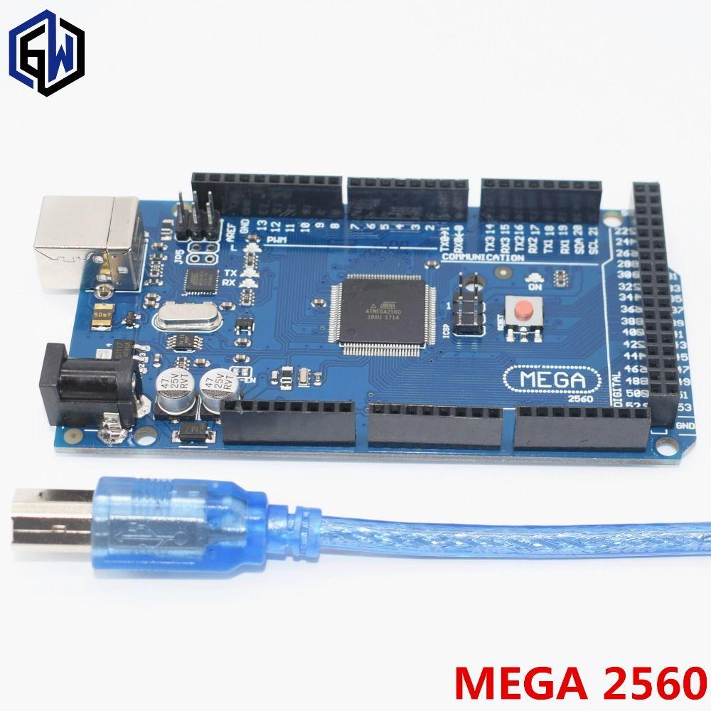 Mega 2560 R3 Mega2560 REV3 ATmega2560-16AU,ATMEGA16U2-MU Board + USB Cable compatible 10set
