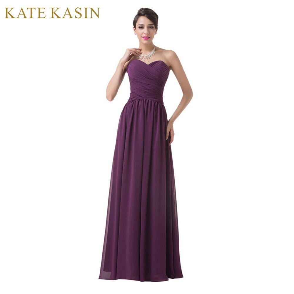Cuadro verdadero Diseño de La Boda Vestido de Fiesta Palabra de Longitud Gasa Largo Vendaje Vestido de Fiesta Baratos Purple vestidos de dama de Honor 2017 6273