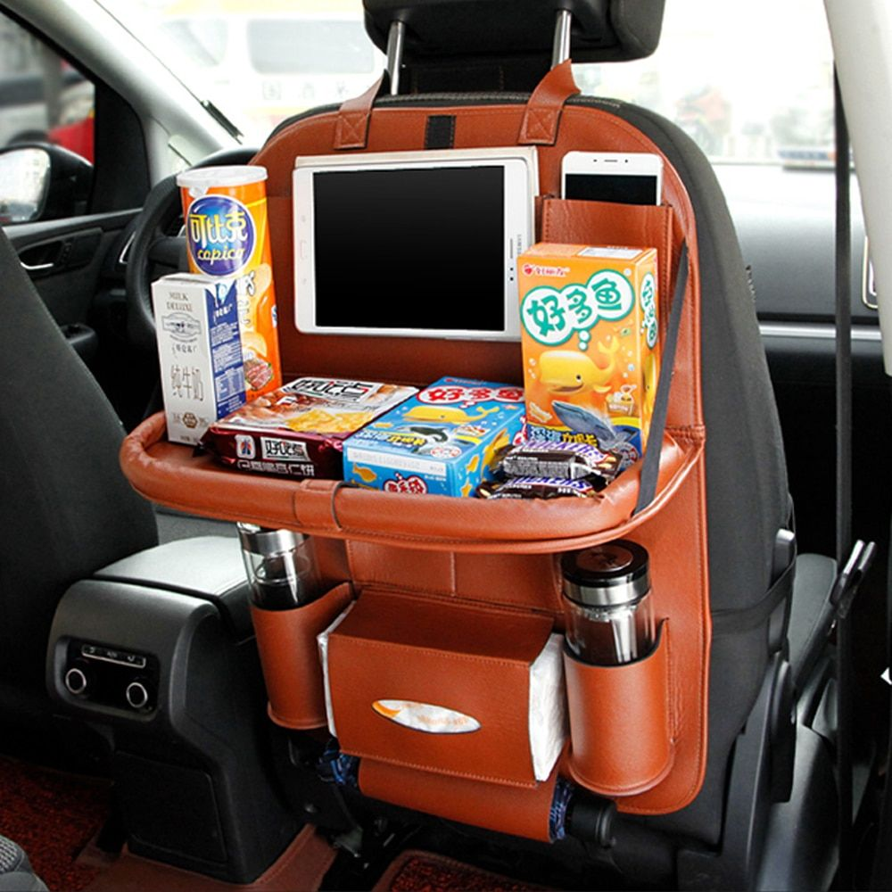 Multi-function Car Back Seat Organizer Beverage Food Storage Bag Universal Pockets Tissue Container Phone Holder Stowing Tidying
