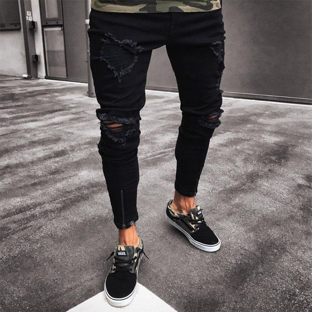 2018 abendessen dünne hip hop jeans herren ripped holes dünne hosen Homme Hosen Neue Ankunft Arbeiten Knöchel Reißverschluss Dünne Jeans denim