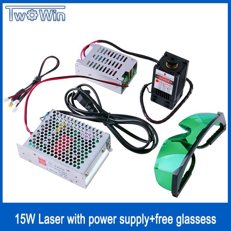 High Power Diode Laser 15 Watt/15000 mW Fokussierbar Blau Laser-modul 450nm mit TTL Fahrer für laser cutter graviermaschine cnc